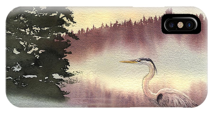 Heron IPhone X Case featuring the painting Surveyor Of The Morning by Lynn Quinn