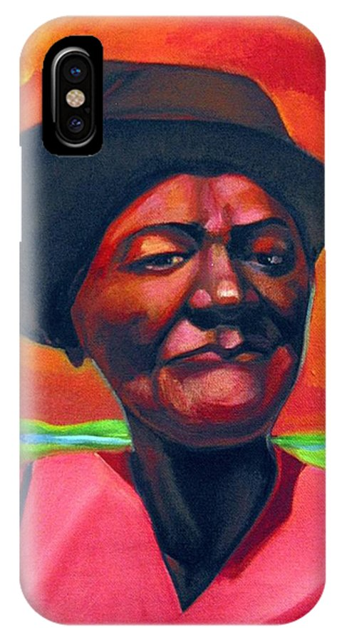 African IPhone X Case featuring the painting Survivor Spirit Mollie by Joyce Owens