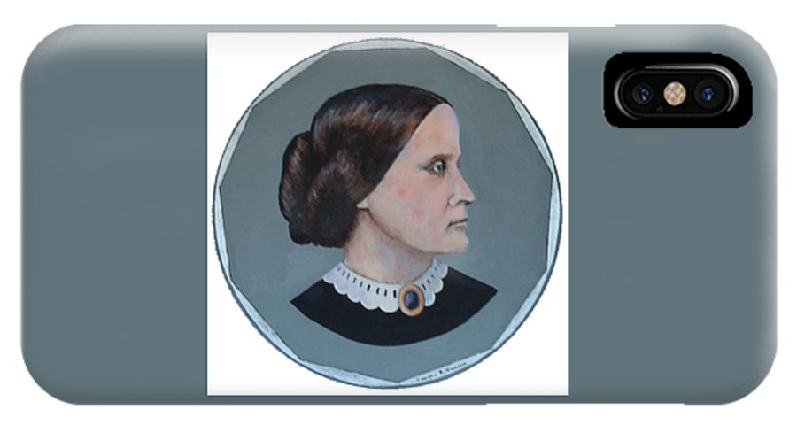 Susan B. Anthony IPhone X Case featuring the painting Susan B Anthony Coin by Art Nomad Sandra Hansen