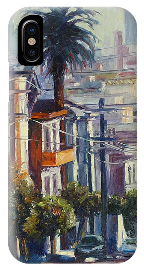 Cityscape IPhone Case featuring the painting Post Street by Rick Nederlof