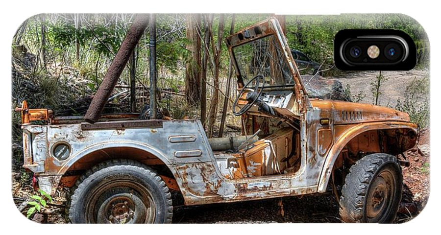 Vehicle Rusty Old Mountains Nature Trees Woods History Jerome Northern Arizona IPhone X Case featuring the photograph Suzuki's Best by Thomas Todd