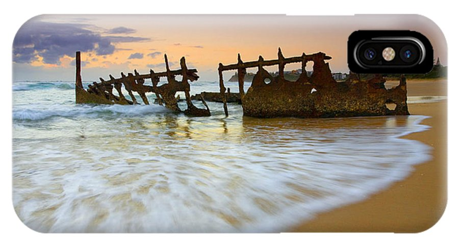Shipwreck IPhone X Case featuring the photograph Swallowed By The Tides by Mike Dawson