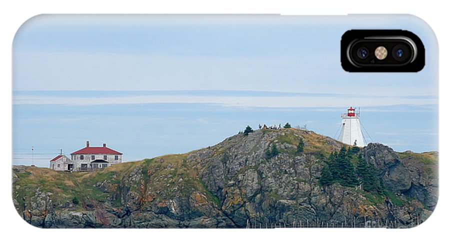 Lighthouse IPhone X Case featuring the photograph Swallowtail Lighthouse And Keeper by Thomas Marchessault