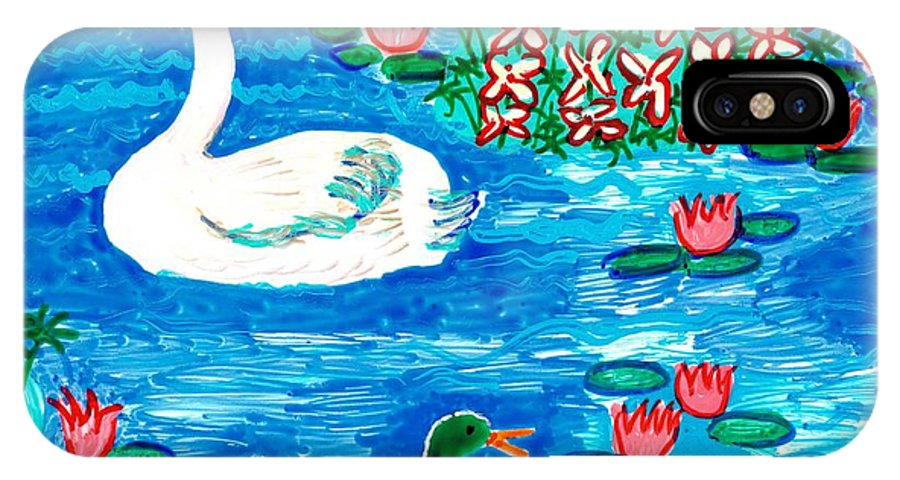 Sue Burgess IPhone X Case featuring the painting Swan And Duck by Sushila Burgess