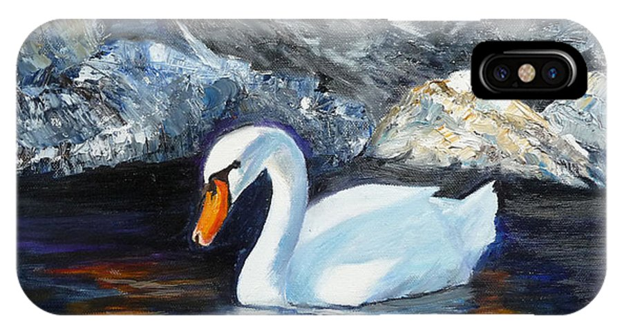 Swan IPhone X / XS Case featuring the painting Swan By Rocks by Lyn Tietz