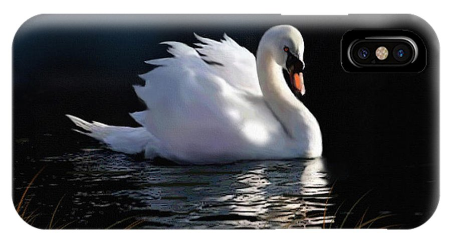 Swan IPhone X Case featuring the painting Swan Elegance by Robert Foster