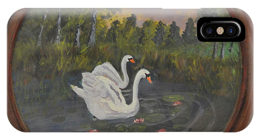 Swan IPhone X Case featuring the painting Swans On Lake by Meandering Photography