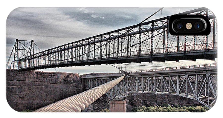 Suspension IPhone X Case featuring the photograph Swayback Suspension Bridge by Farol Tomson