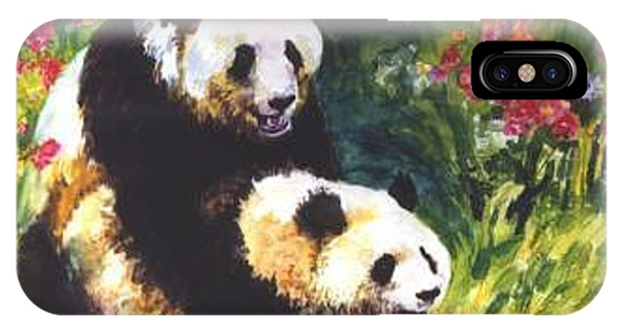 Panda IPhone X Case featuring the painting Sweet As Honey by Guanyu Shi