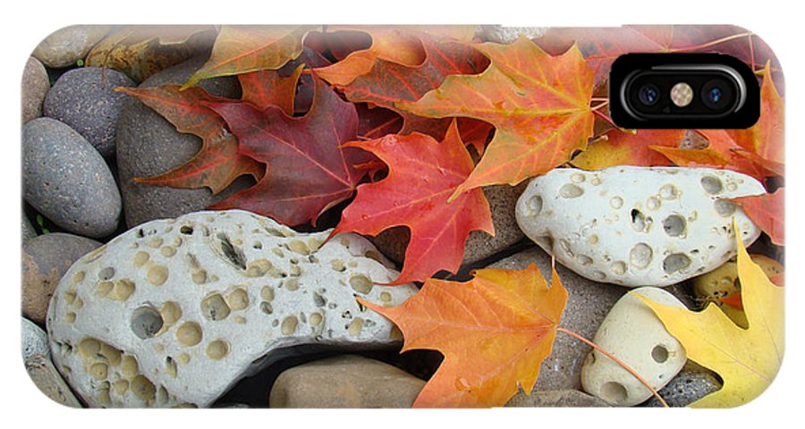 Art IPhone X Case featuring the photograph Sweet Autumn 1 Autumn Leaves Rock Designs Photography Digital Art Prints by Baslee Troutman