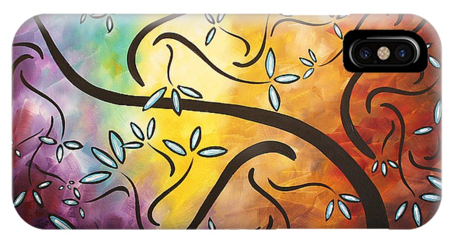 Abstract IPhone X Case featuring the painting Sweet Blossom By Madart by Megan Duncanson