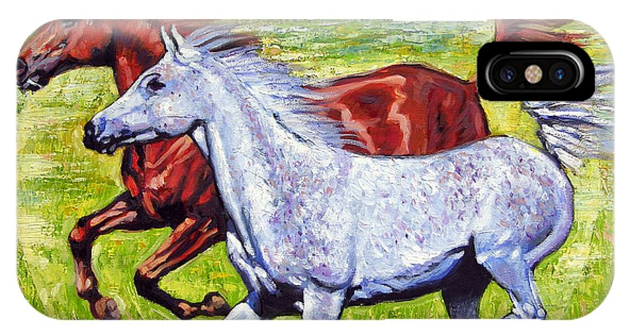 Horses Running IPhone Case featuring the painting Sweet Harmony by John Lautermilch