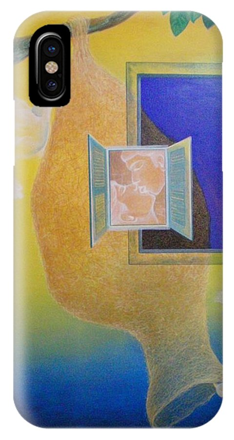Romantic IPhone X Case featuring the painting Sweet Home by Raju Bose