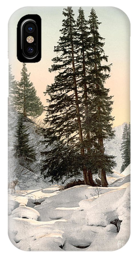 1895 IPhone X Case featuring the painting Switzerland: Davos, C1895 by Granger