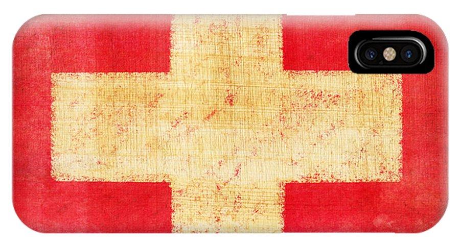 Abstract IPhone X Case featuring the photograph Switzerland Flag by Setsiri Silapasuwanchai