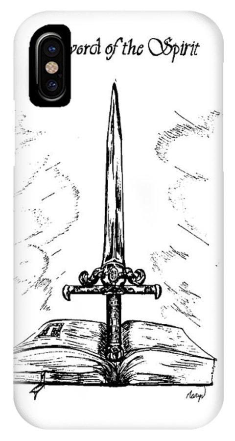 Sword IPhone X / XS Case featuring the drawing Sword Of The Spirit by Maryn Crawford