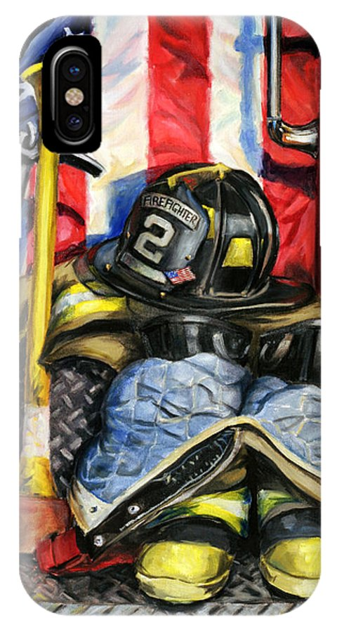 Firefighting IPhone X Case featuring the painting Symbols Of Heroism by Paul Walsh
