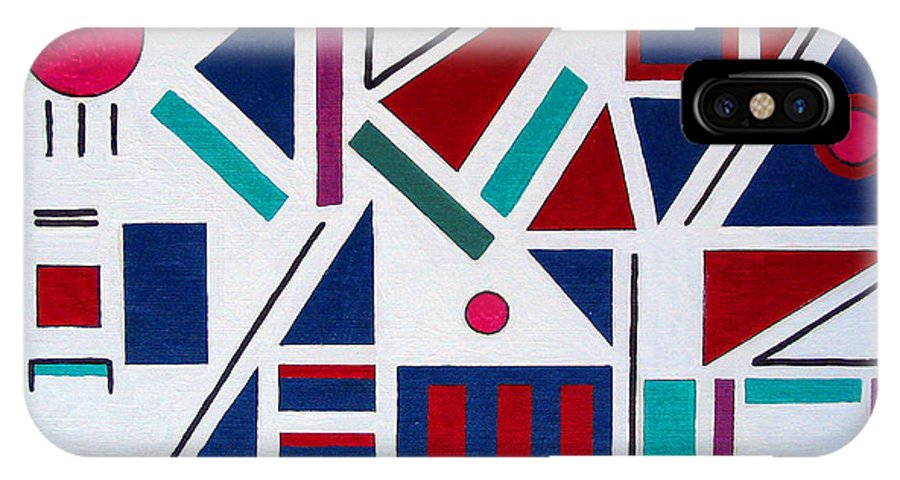 Abstract IPhone X Case featuring the painting Symmetry In Blue Or Red by Marco Morales