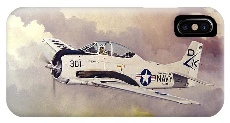Military IPhone X / XS Case featuring the painting T-28 Over Iowa by Marc Stewart