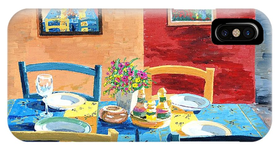 Table IPhone X Case featuring the painting Table For Four by Keith Wilkie