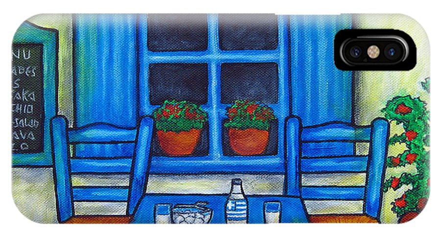 Blues IPhone X Case featuring the painting Table for Two in Greece by Lisa Lorenz