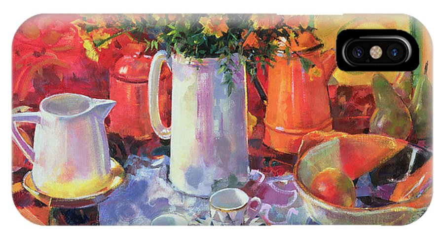 Still-life IPhone X Case featuring the painting Table Reflections by Peter Graham