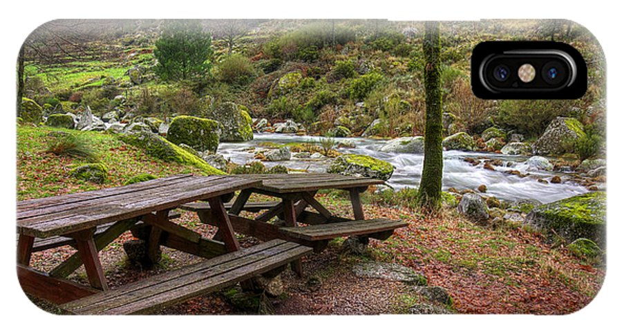 Autumn IPhone X Case featuring the photograph Tables By The River by Carlos Caetano