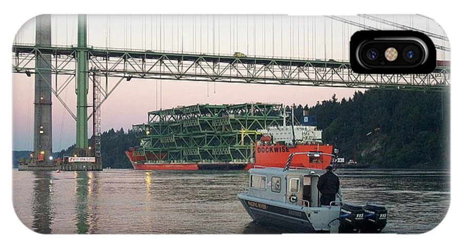 Tacoma IPhone X Case featuring the photograph Tacoma Narrows Bridge With Patrol Boat In Foreground by Alan Espasandin