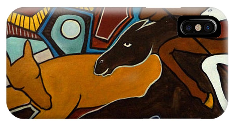 Horse Abstract IPhone X Case featuring the painting Taffy Horses by Valerie Vescovi