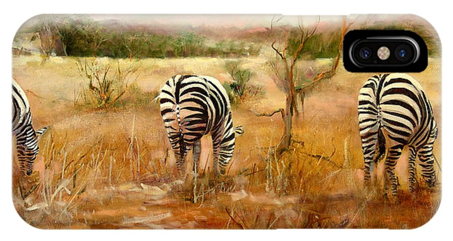 Jungle IPhone X Case featuring the painting Tail Of Three Zebras by Sally Seago