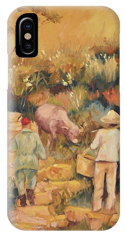 Water Buffalo IPhone X Case featuring the painting Taipei Buffalo Herder by Ginger Concepcion