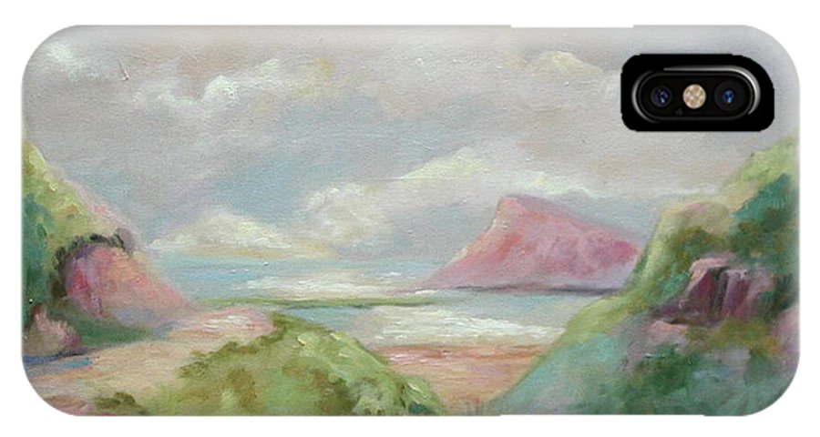 Seascape IPhone X Case featuring the painting Taiwan Inlet by Ginger Concepcion