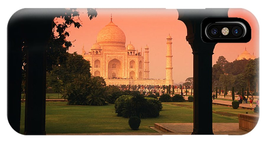 Landscape IPhone X / XS Case featuring the pyrography Taj Mahal by Javier Flores