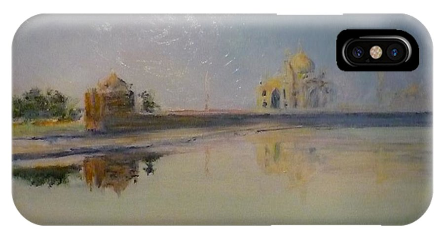 Taj Mahal IPhone X Case featuring the painting Taj Mahal Sunrise by Lizzy Forrester