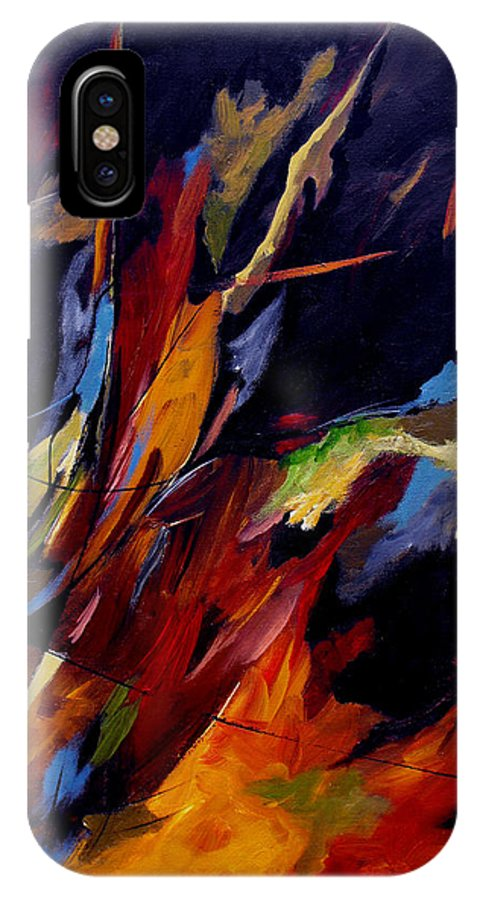 Abstract IPhone X Case featuring the painting Take Action by Ruth Palmer