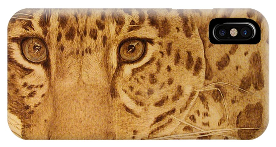 Jaguar; Sepia; Wild Life; Africa; Eyes; Zoo; Cat; IPhone X Case featuring the pyrography Take One Step Closer by Jo Schwartz