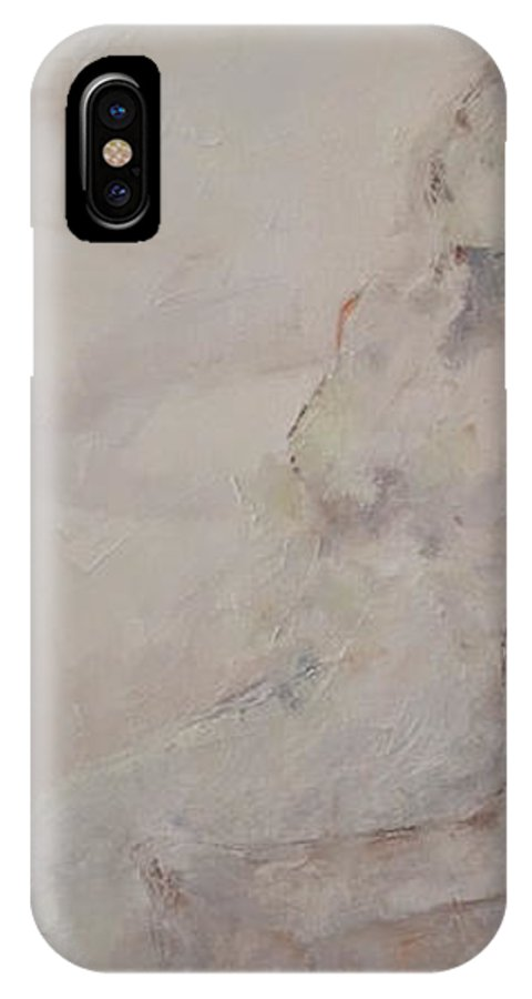 Nude IPhone X Case featuring the painting Taking A Breath by Nancy Armstrong