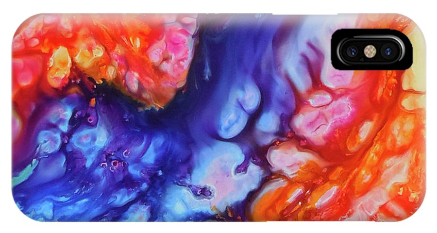 Abstract IPhone X Case featuring the painting Taking Flight by Sherry Shipley