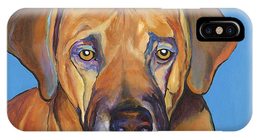 Rhodesian Ridgeback Dog Ridgeback African Colorful Orange Gold Yellow Red IPhone Case featuring the painting Talen by Pat Saunders-White