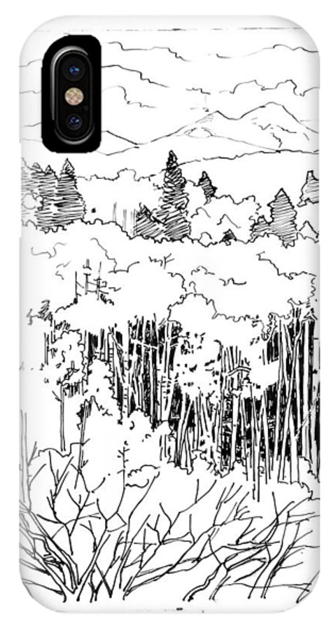 Ink Drawing IPhone X Case featuring the drawing Tall Aspens Rocky Mountains by John Lautermilch