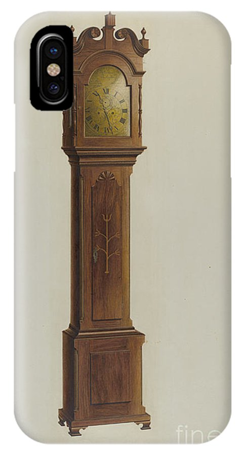 IPhone X Case featuring the drawing Tall Clock by Ferdinand Cartier