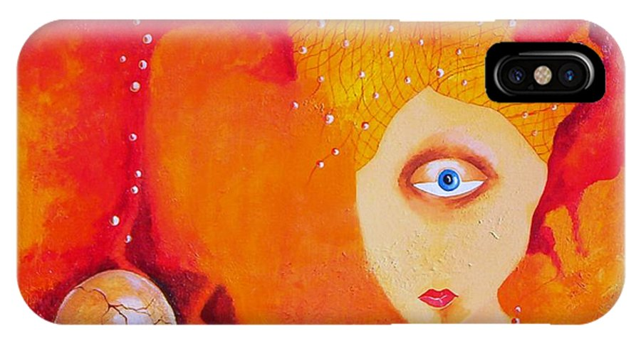 Tangerine Orange Eyes Woman Pearls Thoughts Life Egg IPhone X Case featuring the painting Tangerine Dream by Veronica Jackson