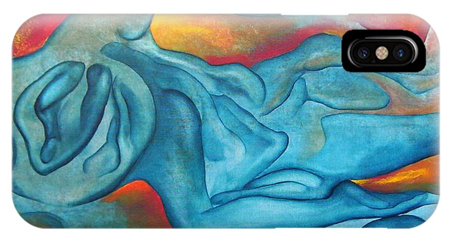 Abstract Blues Love Passion Sensual Earth IPhone X / XS Case featuring the painting Tangled Up by Veronica Jackson