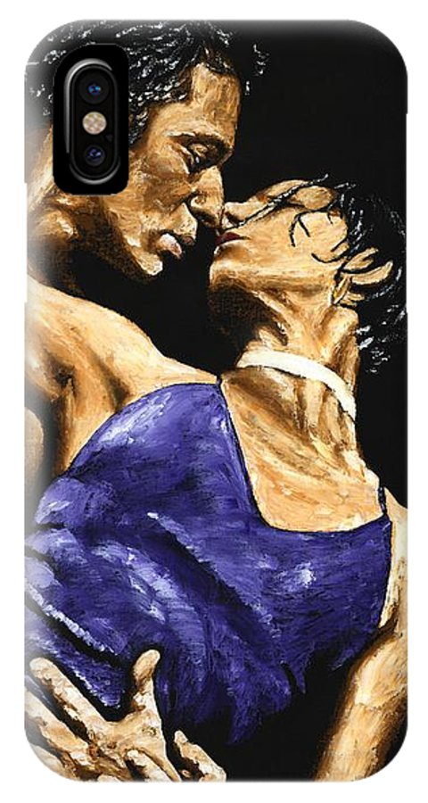 Couple IPhone X Case featuring the painting Tango Heat by Richard Young