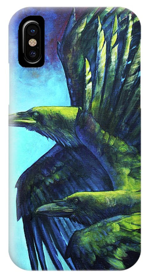 Raven IPhone X Case featuring the painting Tango by Joseph Rizzo
