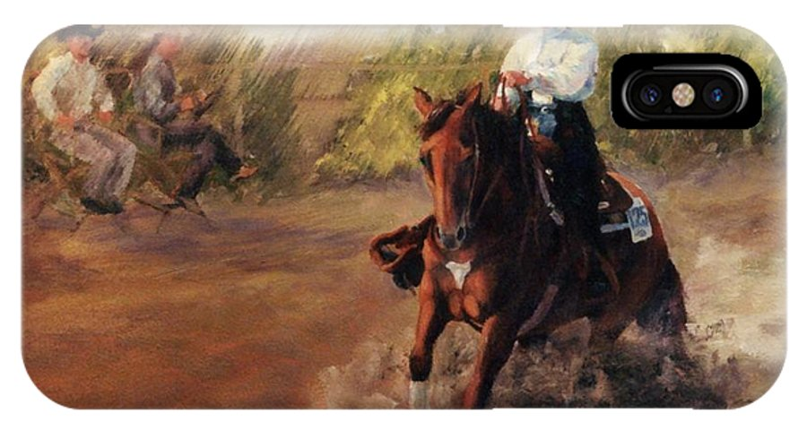 Horse IPhone X Case featuring the painting Tango Reining Horse Slide Stop Portrait Painting by Kim Corpany
