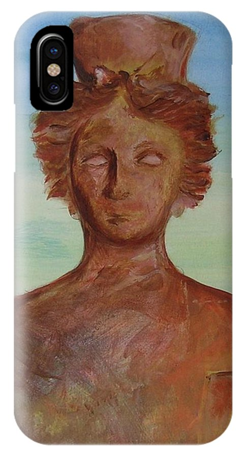 Icon IPhone X Case featuring the painting Tanit Mythical Godess Of Ibiza by Lizzy Forrester