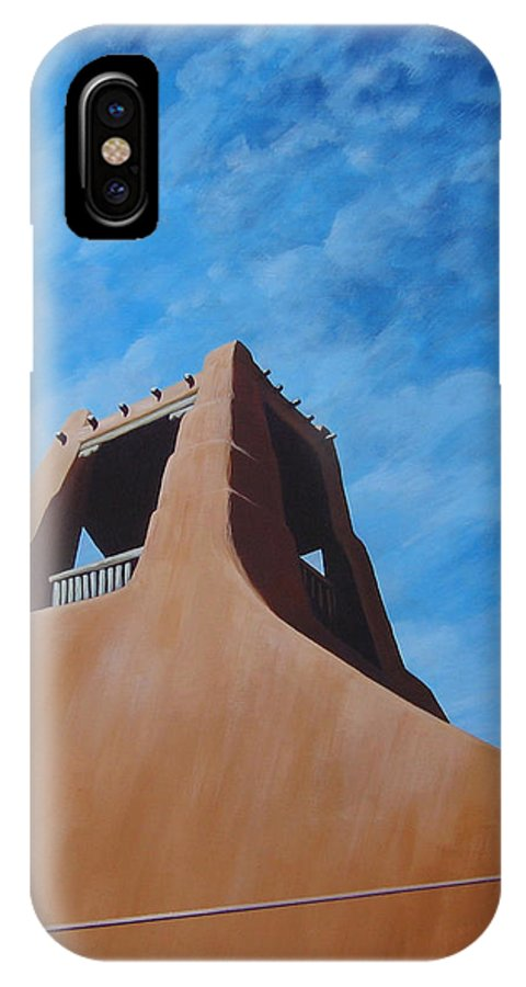 Taos IPhone X Case featuring the painting Taos Memory by Hunter Jay