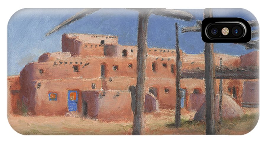 Taos IPhone X Case featuring the painting Taos Pueblo by Jerry McElroy