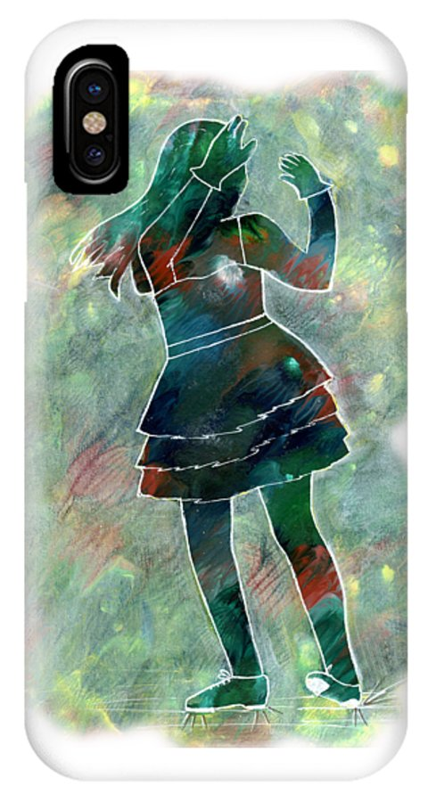 Student IPhone X Case featuring the painting Tap Dancer 1 - Green by Lori Kingston